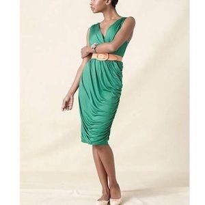Anthropologie/Deletta Emerald Green Ruche Dress